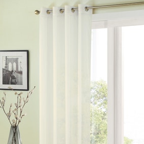 Sheer Elegance White Eyelet Single Voile Panel