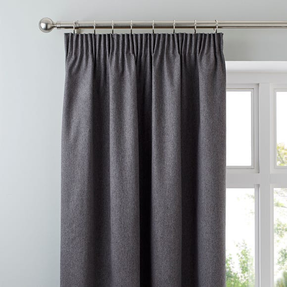 Luna Charcoal Blackout Pencil Pleat Curtains Charcoal undefined