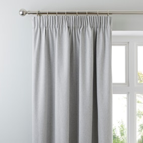 Luna Brushed Dove Grey Blackout Pencil Pleat Curtains