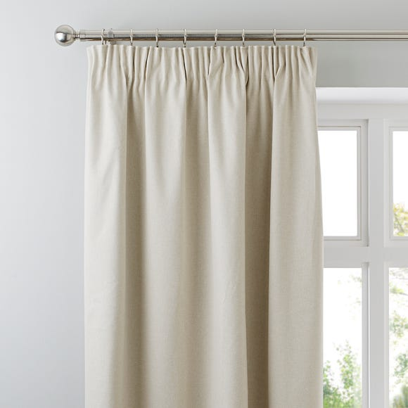 Luna Brushed Natural Blackout Pencil Pleat Curtains  undefined