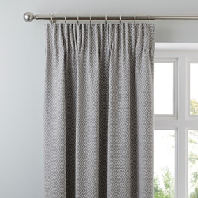 Oslo Grey Pencil Pleat Curtains