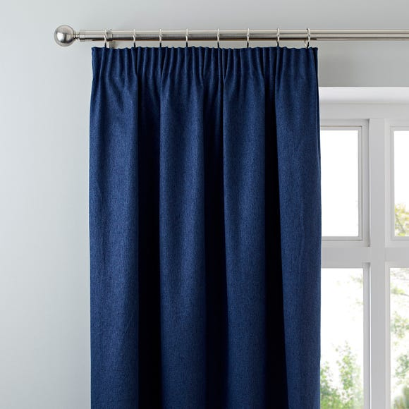 Luna Brushed Navy Blackout Pencil Pleat Curtains  undefined