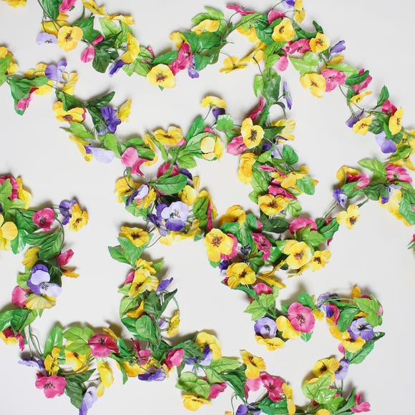 12pk Artificial Pansy Multi Garland 180cm Multi Coloured