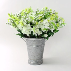 12pk Artificial Larkspur Posy Cream Stem 48cm
