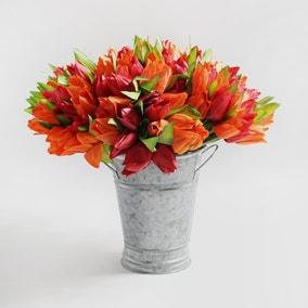 Pack of 12 Artificial Tulip Orange Bouquet 29cm