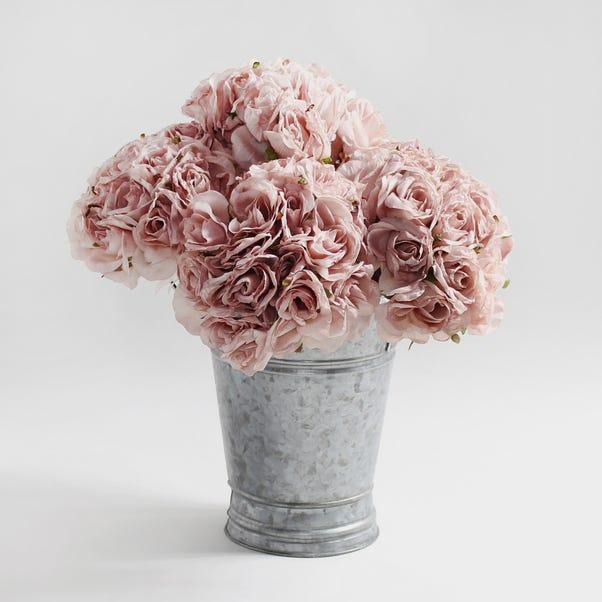 6pk Artificial Rose Pink Bouquet 22cm Dusky Pink