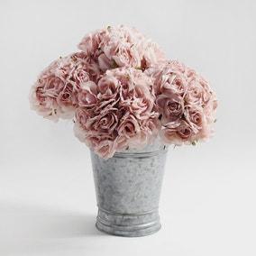6pk Artificial Rose Pink Bouquet 22cm