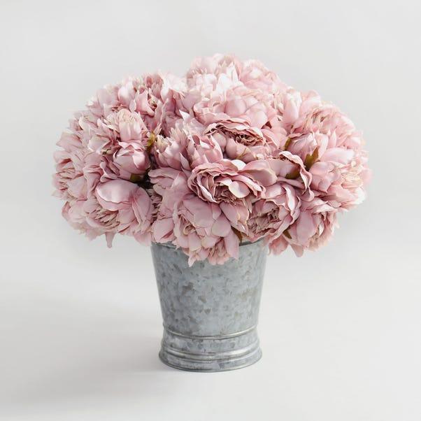 12pk Artificial Peony Pink Bouquet 26cm Pink