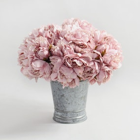 12pk Artificial Peony Pink Bouquet 26cm