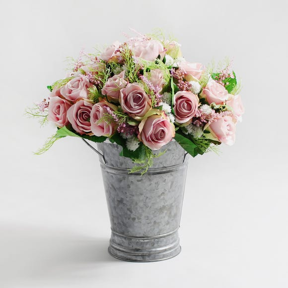 6pk Artificial Rose and Heather Pink Bouquet 28cm Pink