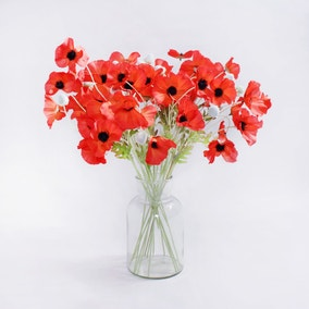 24pk Artificial Poppy Red Stem 62cm