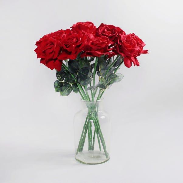 12pk Artificial Rose Red Stem 62cm Red