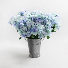 6pk Artificial Hydrangea Blue Bush 57cm