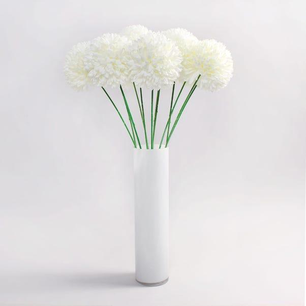 12pk Artificial Pompom Flower Cream Stem 72cm Natural