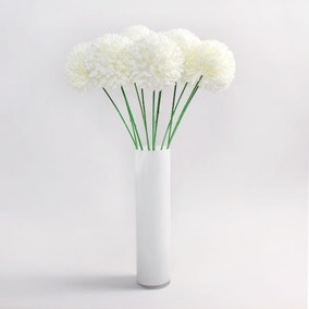 12pk Artificial Pompom Flower Cream Stem 72cm