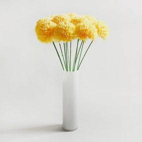 Pack of 12 Artificial Pompom Flower Yellow Stem 72cm