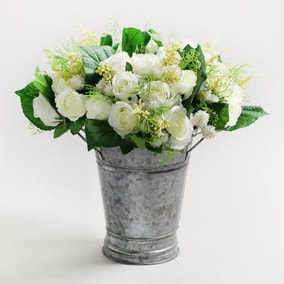 Pack of 4 Artificial Rose and Heather Cream Bouquet 30cm
