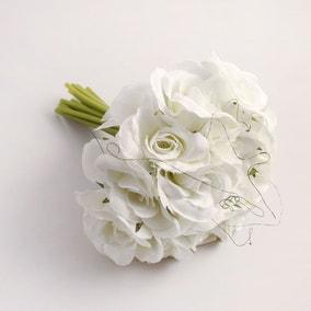 Pack of 6 Artificial Rose Cream Bouquet 21cm