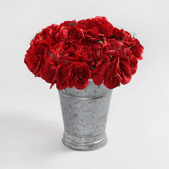 6pk Artificial Rose Red Bouquet 21cm Red