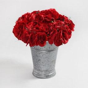 6pk Artificial Rose Red Bouquet 21cm