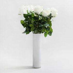 12pk Artificial Rose Cream Single Stem 75cm