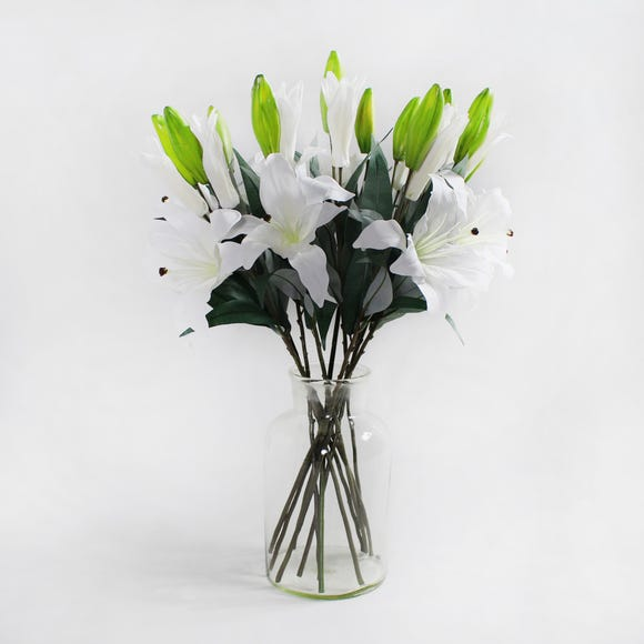 12pk Artificial Tiger Lily White Spray 72cm White