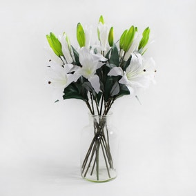 Pack of 12 Artificial Tiger Lily White Spray 72cm