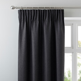 Jennings Charcoal Thermal Pencil Pleat Curtains