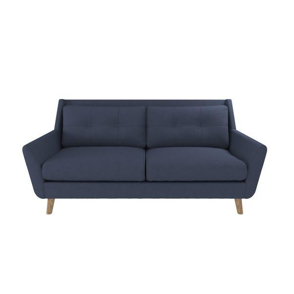 Halston Fabric 3 Seater Sofa Deep Blue