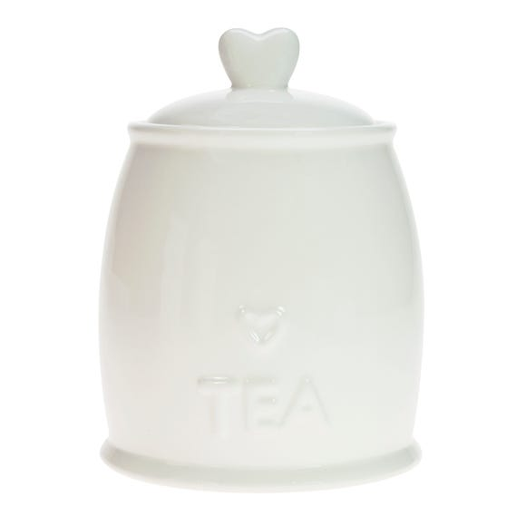 Country Heart Tea Storage Jar White