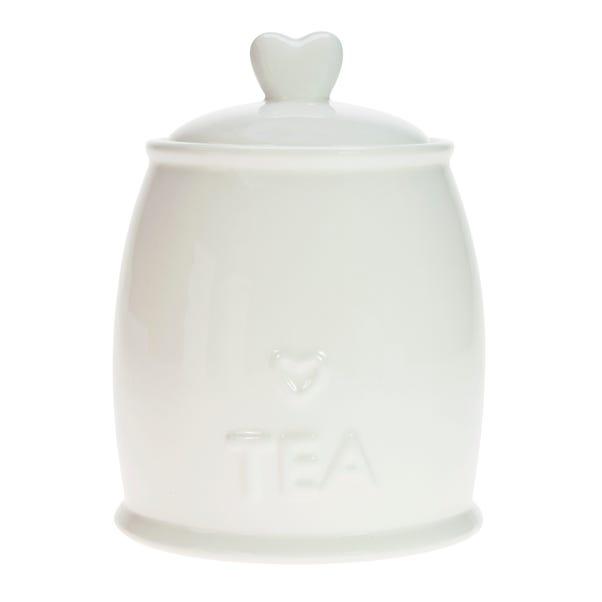 Country Heart Tea Storage Jar White