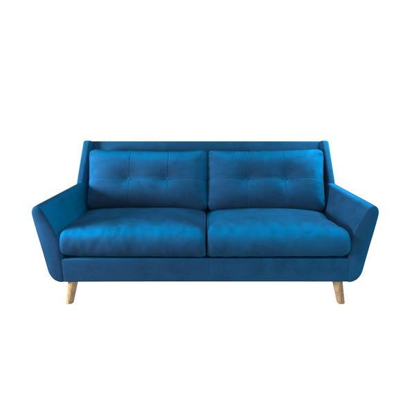 Halston Velvet 3 Seater Sofa Blue