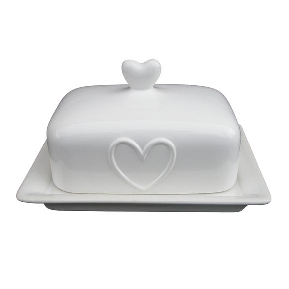 Country Heart Butter Dish White