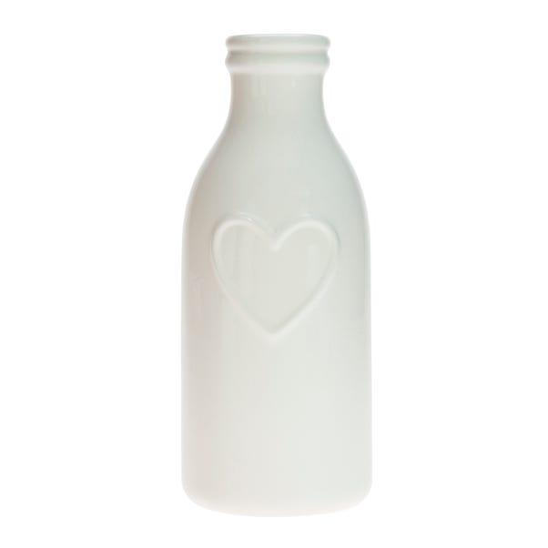 Country Heart Bottle Vase White
