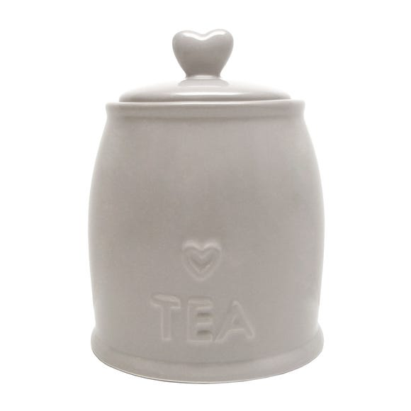 Country Taupe Heart Tea Storage Jar Brown