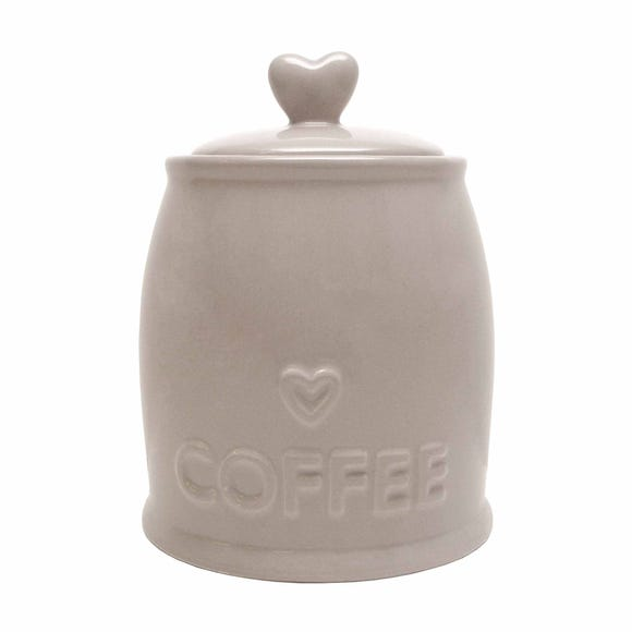 Country Taupe Heart Coffee Jar Brown