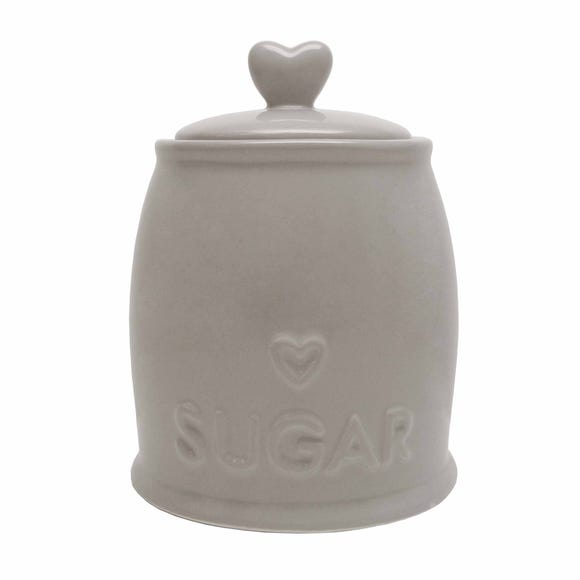 Country Taupe Heart Sugar Storage Jar Brown