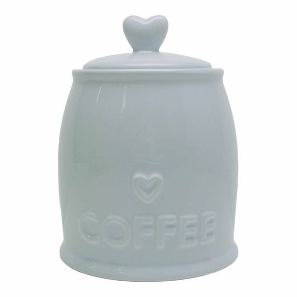 Country Heart Duck-Egg Coffee Jar Blue