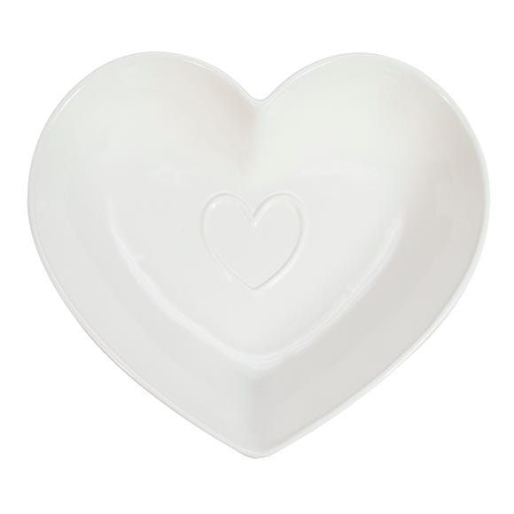 Country Heart Serving Bowl White