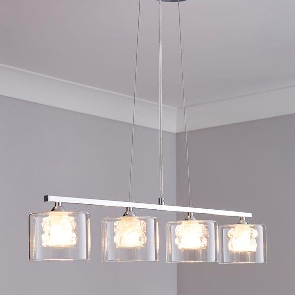 Erie 4 Light Bar Glass Diner Ceiling Fitting Silver