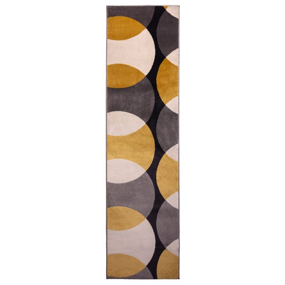 Ochre Abstract Geometric Circles Runner Ochre