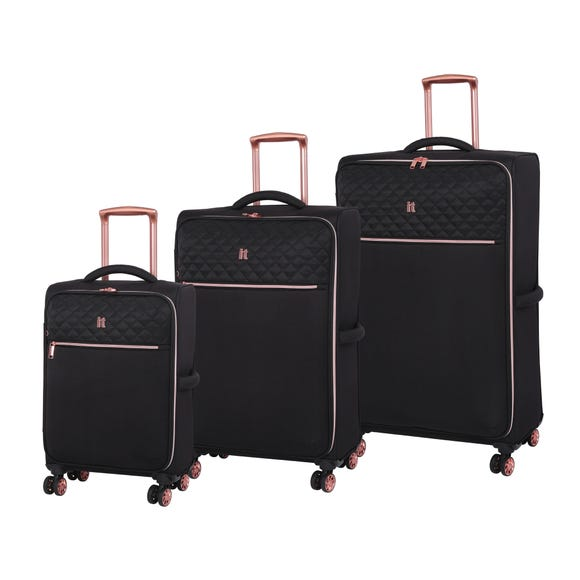 IT Luggage Divinity Black & Rose Gold Trim Quilted Suitcase  undefined
