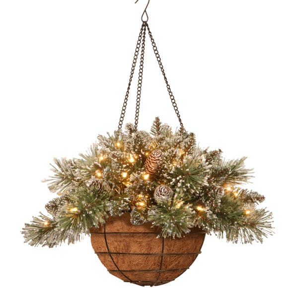 Glittery Bristle Pine Cones Hanging Basket with LED Lights Green