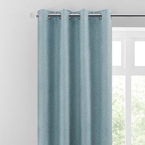 Luna Brushed Soft Blue Blackout Eyelet Curtains