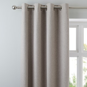 Luna Brushed Taupe Blackout Eyelet Curtains
