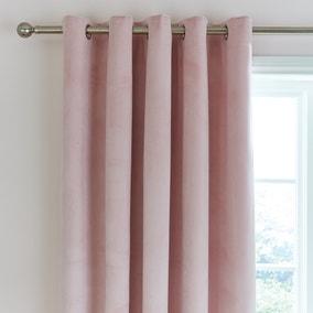 Ashford Blush Velour Eyelet Curtains