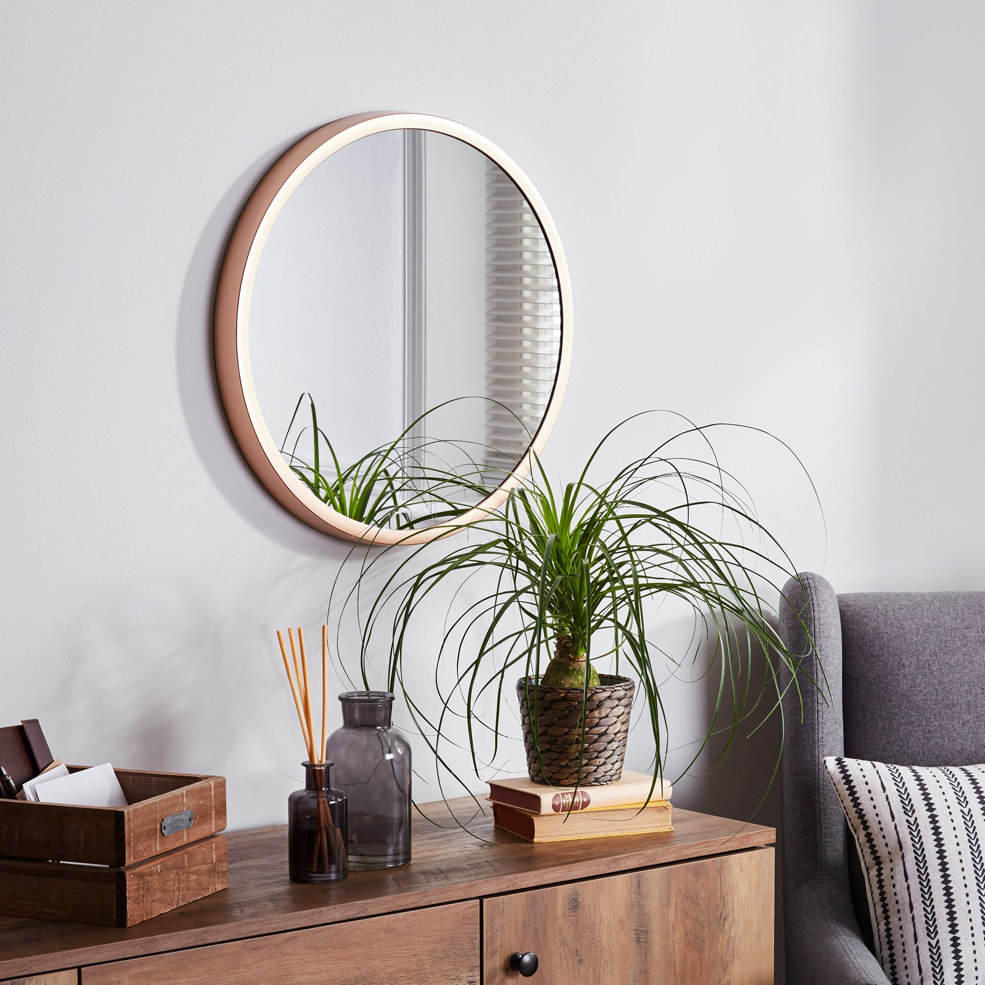 Click to view product details and reviews for Elements Round Wall Mirror 55cm Copper Brown.
