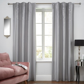 Swirl Sequin Pewter Hidden Tab Top Curtains