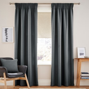 Henley Charcoal Pencil Pleat Curtains