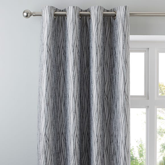Linear Waves Silver Eyelet Curtains  undefined